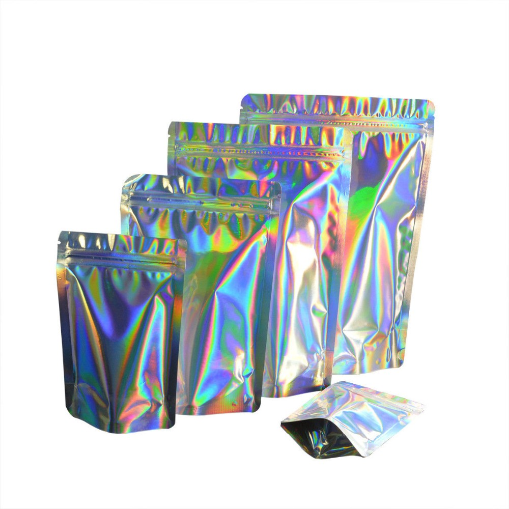 Atacado Rainbow Color Mylar Holographic Foil Bag Com Alça