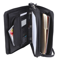 Large Compartments Meeting Work folder A4 Holder Portfolio Tote Bag with Zippered and Leather Holders Folio Portfolio