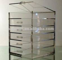 6 drawer acrylic jewelry storage chest with a top lid