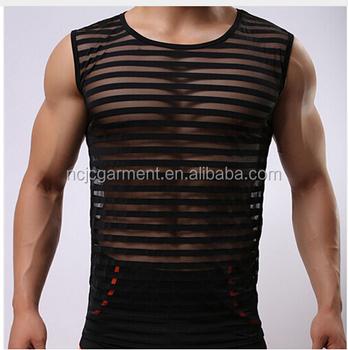 daf7523319b20 Wholesale tank tops men sexy Male sex underwear Gay clothing mesh net  shirts Fashion man clothes
