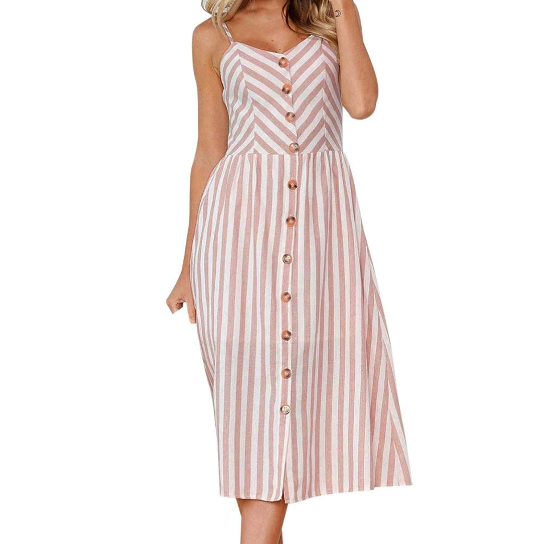 0c0a3e35ac Auwer 2018 Summer Dress, Womens Holiday Strappy Button Pocket Ladies Summer  Beach Midi Swing Sun Dress