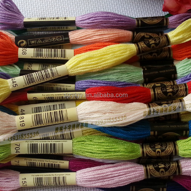 Factory Supply! JMG Brand DIY 447 colors Cotton Thread 100% cotton embroidery thread