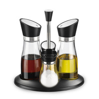 Rotatable Lid Cooking Glass Oil and Vinegar Bottles Wholesale Seasoning Bottle Oil Vinegar Salt Pepper Set