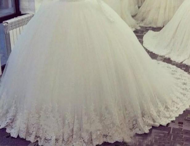 Appliques Lace Beaded Vestido de Noiva Muslim plus size african royal train Ball Gown long sleeve Wedding Dresses MWA288