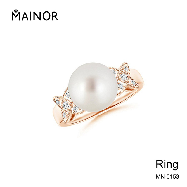 Latest Rose Gold Pearl Ring with Butterfly Diamond Shape Perfect Rings