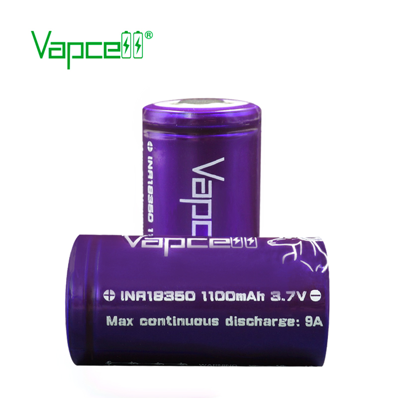 18350 battery high power capacity rechargeable li ion battery high quality for e-cig Vapcell 18350 1100mAh 9A