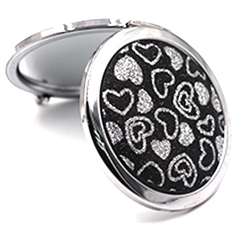 wholesale custom round heart pattern fabric double sided folding pocket mirror