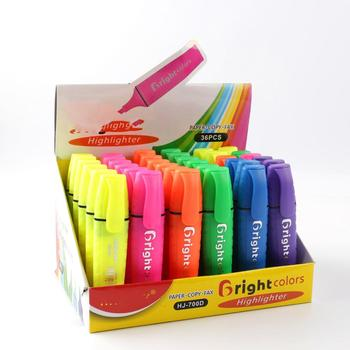 multicolor stationery highlight marker,display box pen for promotion
