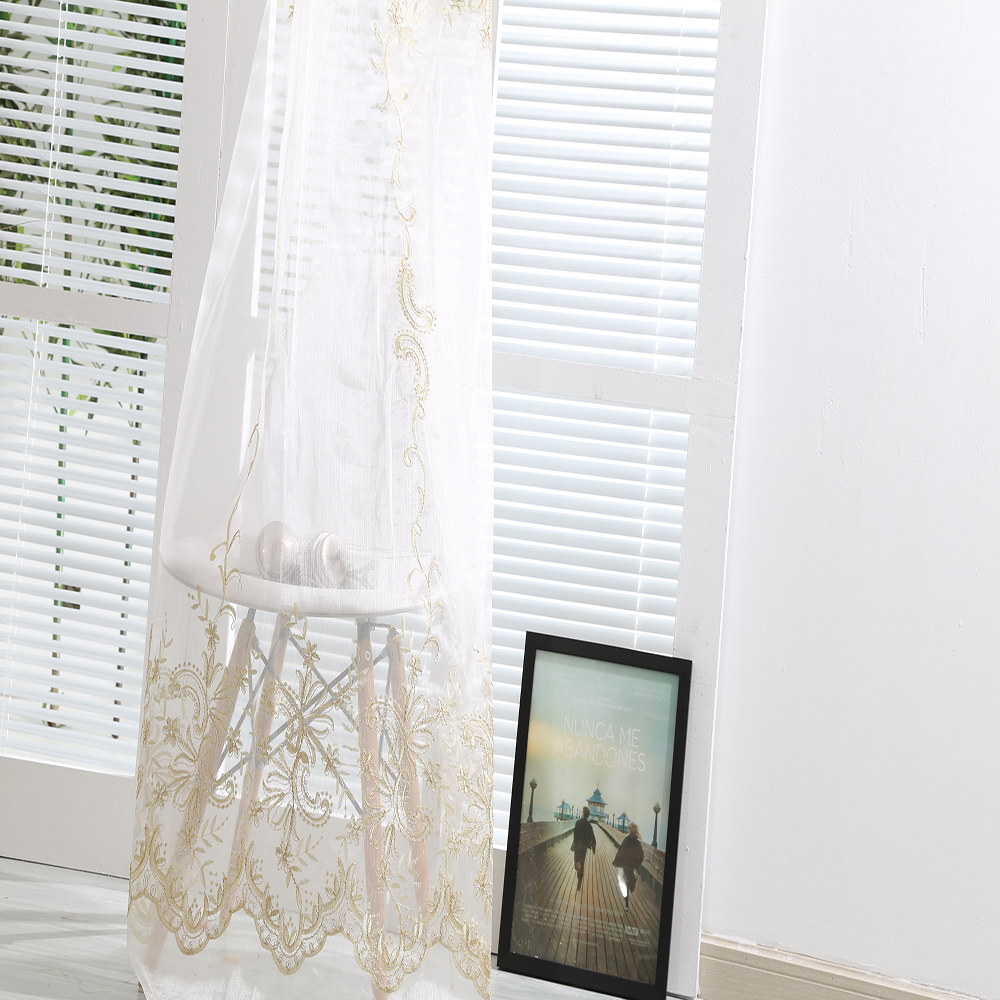 High quality cheap embroidery linen mesh drapes curtains for interior curtain decorations