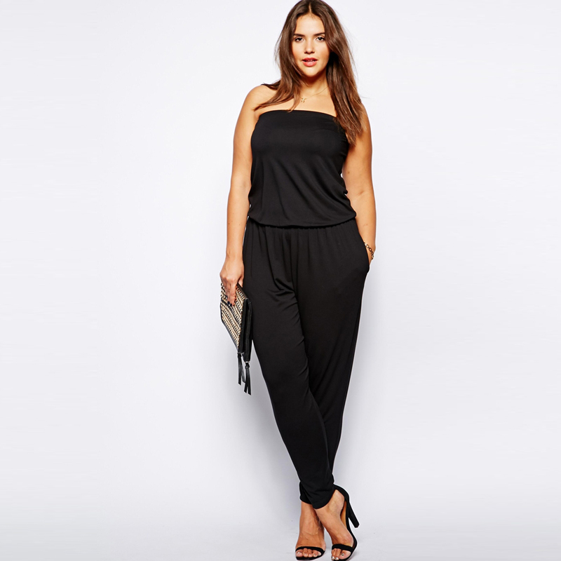 f62b8df15ac6d Get Quotations · Plus Size Rompers Womens Jumpsuit Off The Shoulder  Sleeveless Overalls Casual Loose Long Romper Ladies Jumpsuits