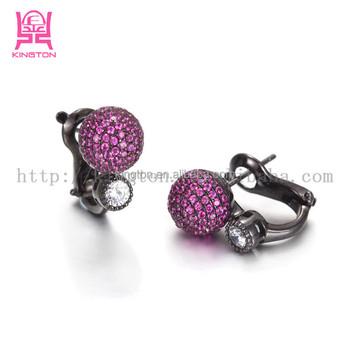 Fancy Black Onyx Purple Diamond Stud Earrings