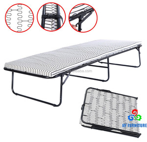 Easy storage cot size metal frame mattress foundation folding guest bed
