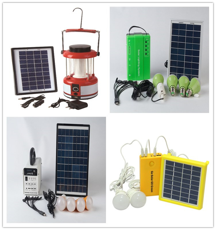 8w 10w home solar panel power kit lighting system with led light