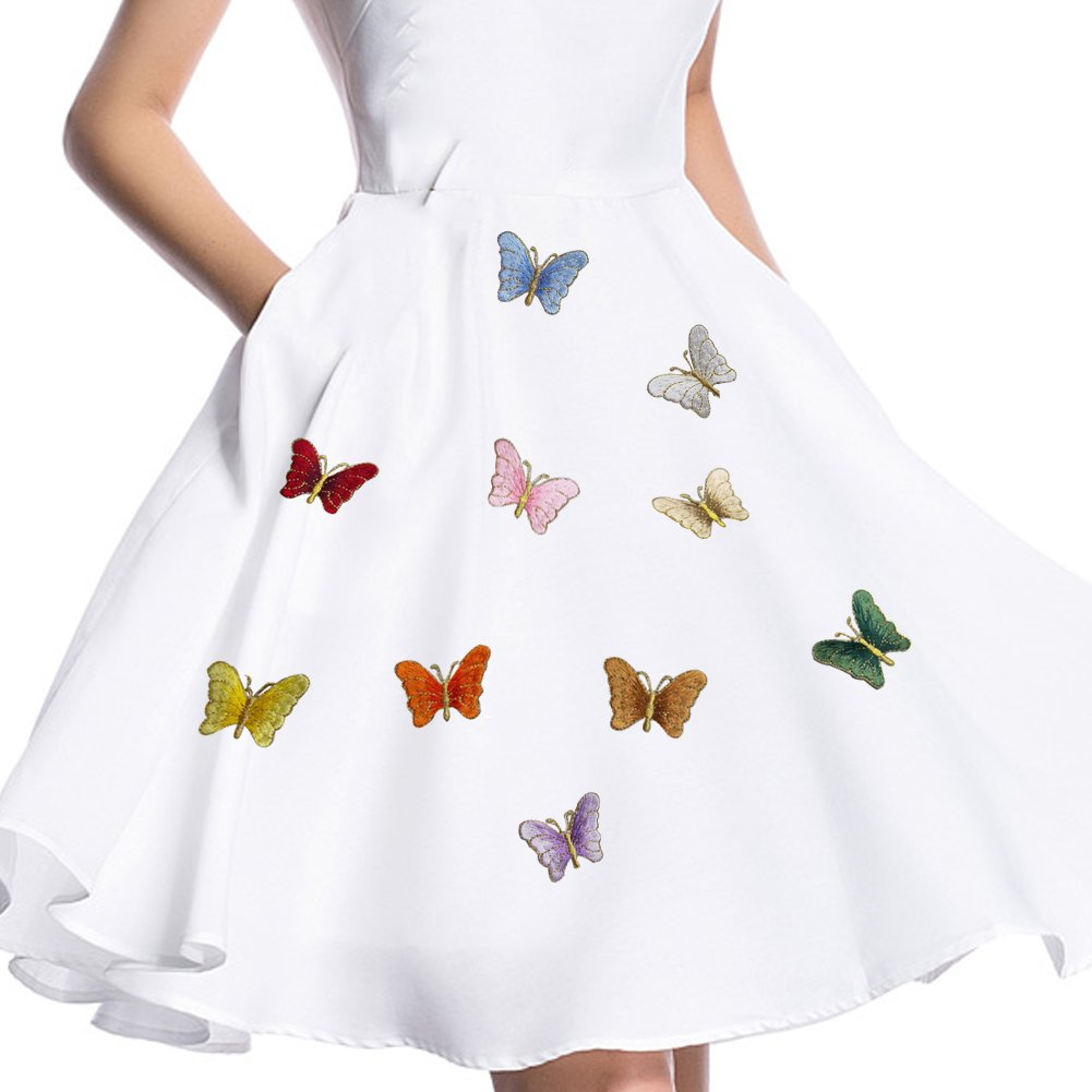 """XUNHUI Colorful Mixed Butterfly Patches Iron On or Sew Fabric Sticker for Clothes Embroidered Appliques DIY Accessory 10 Pieces 1.5""""X1.2"""""""