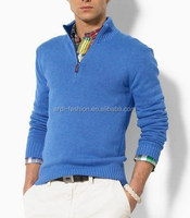 branded 1/4 zip up polo neck plain knitted handmade mens pullover sweater