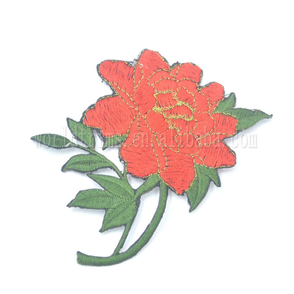 China factory fashion custom patches of flowers embroidered rose patch for clothes and hats