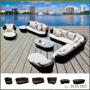 All Weather Wicker Rattan Woven Patio Seating Furniture Set Sectional Outdoor Corner Sofa Model
