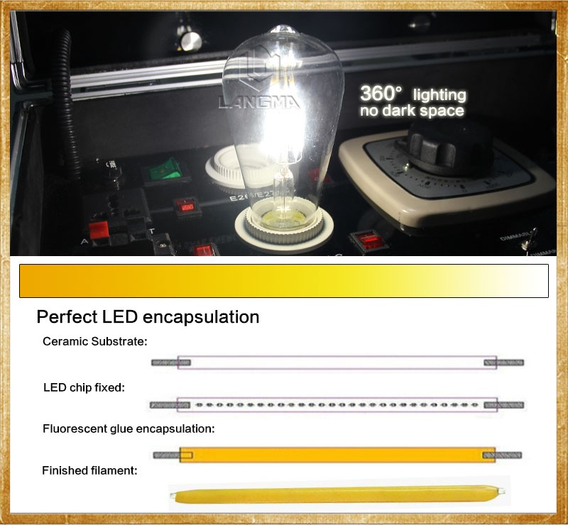 Home Led Bulbs Filament Light Vintage Retro Antique Industrial Style Lamp Bulb Led Bulb E27 St64
