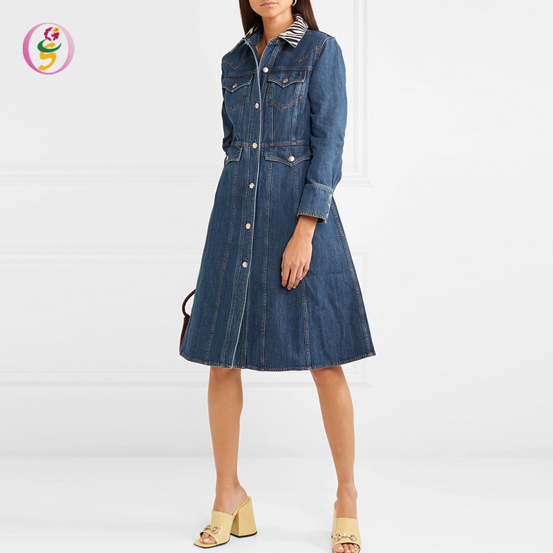 2019 neue Trend Damen Lange Hülse Denim Hemd Kleid Elegante Slim Fit Kleid