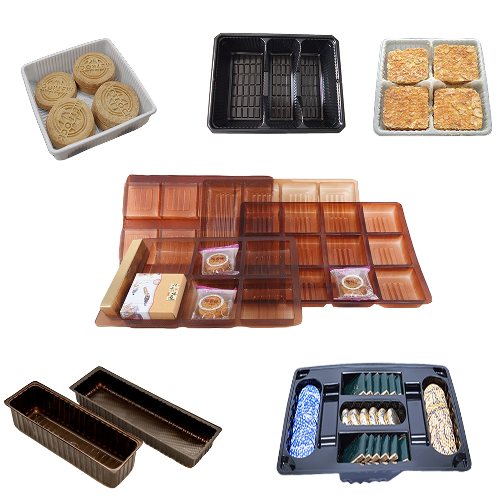Hot Sales Black PET Blister Plastic Insert Biscuit Container Luxury Cookie Packaging Tray With 2 Cavities