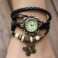 2019 Original Good Quality Women Crow Leather Vintage Watches,Vogue Bracelet watches butterfly/Eiffel