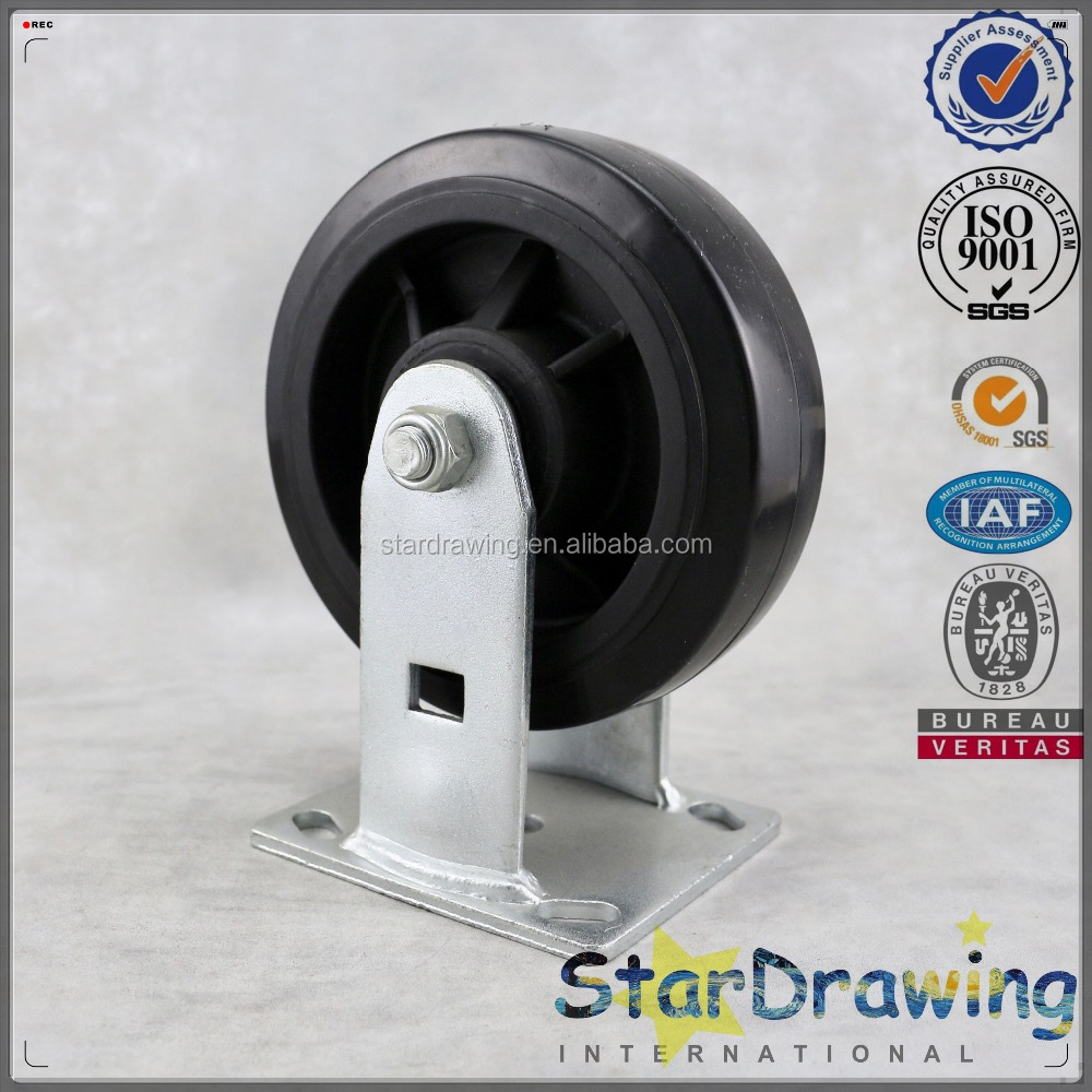 6 inch silent rolling Heavy duty caster wheels black pu on polyolefin rigid caster noise reducing Heavy duty caster wheels