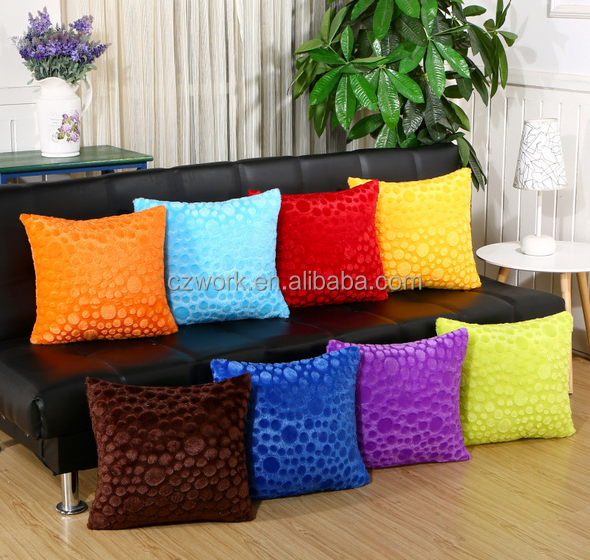 Wholesale bright color fleece patchwork cushion covers and pillowcases
