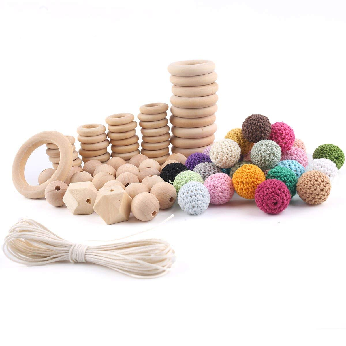 DIY Wooden Rings Crochet Set Diy Nursing Teething Baby Teether Beads Set Eco-friendly Newborn Baby Accessories Cord with Case