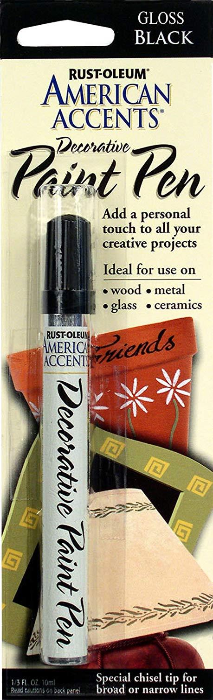 Rust-Oleum 215123 American Accents Satin Decorative Paint Pen, Black, 1/3-Ounce
