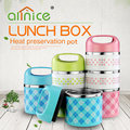 Colorful stainless steel double wall round lunch box 1/2/3 layer food container with handle