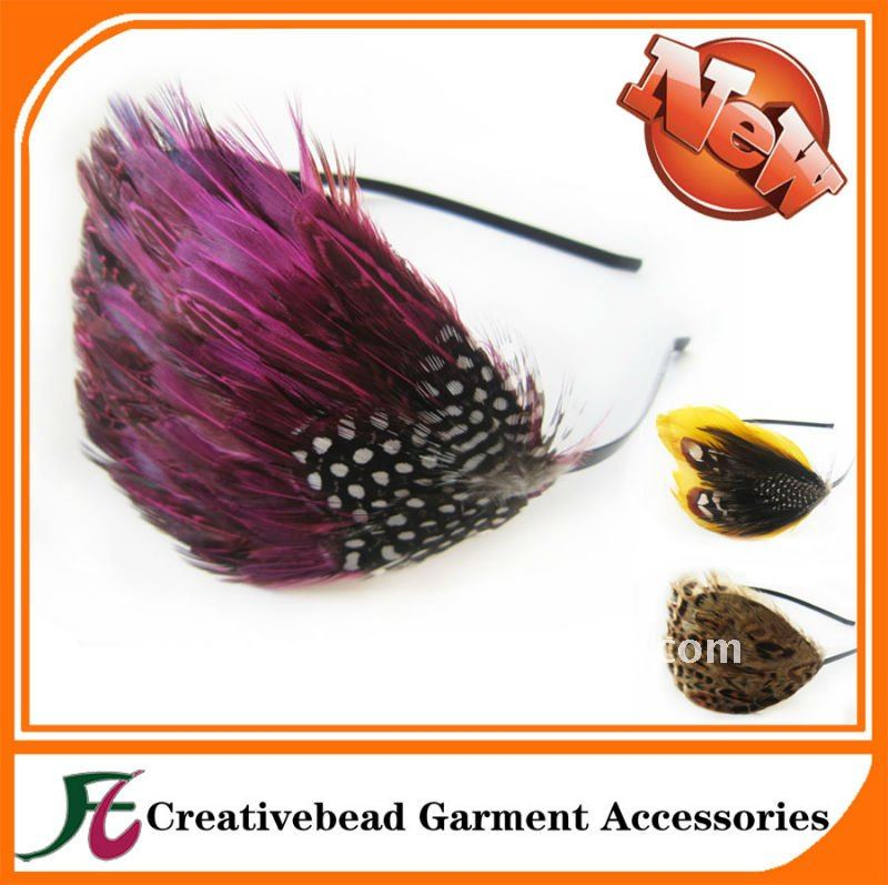Hair accessories fashion natural feather headband carnival feathers headbands with feather accessories