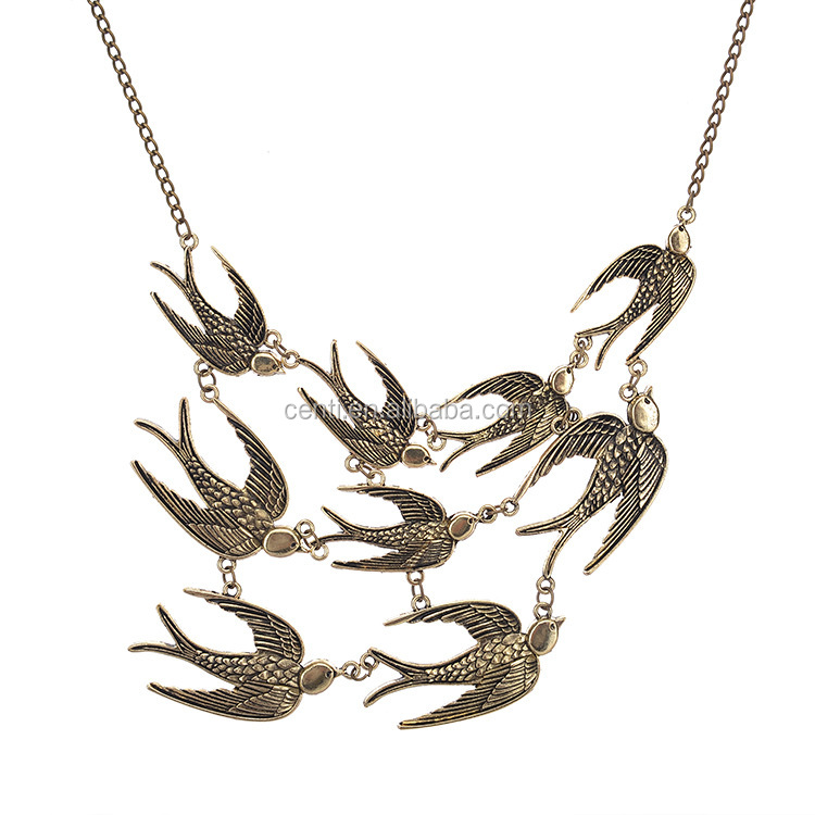 antique bronze group of swallows pendant choker necklace