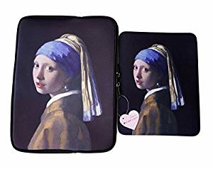 "Oh My Lady* 13-13.3"" inch Vermeer 's Masterpiece (Girl with A Pearl Earring) Oil Painting Neoprene Laptop Case/Sleeve/Bag/Pouch/Cover – Available in 7 Patterns"