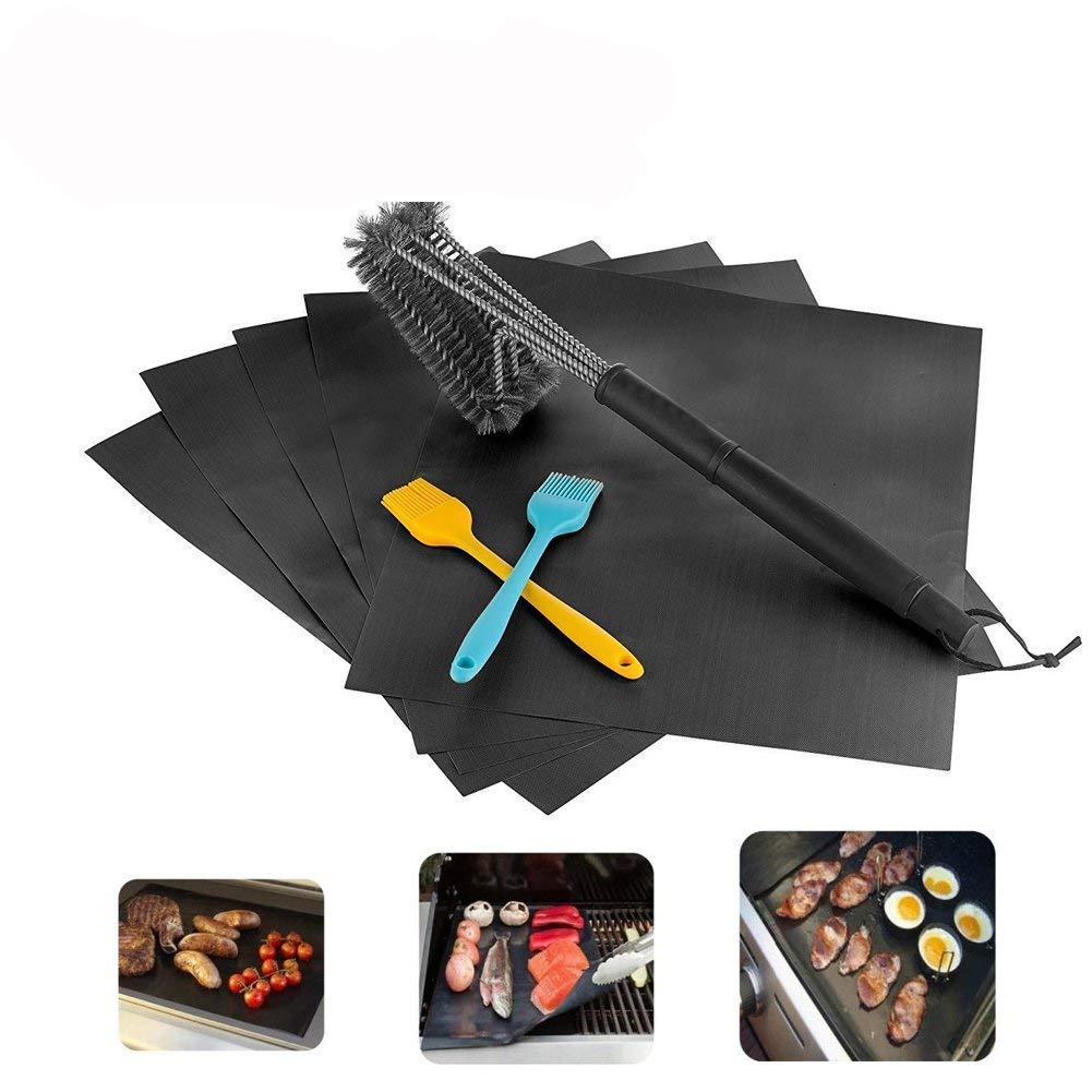 SKYWEE BBQ Mats Set, Non Stick, Heavy Duty, 5 Pack Black Grill Mats - Grill Brush Stainless Steel 3 In 1 Cleaner, Wire Bristles, Stiff Handle - 2 Pack Silicone Brush For All Your Grilling Needs