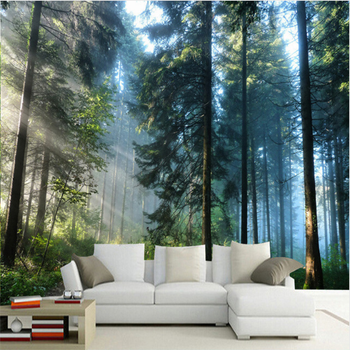 Custom 3d Wall Murals Wallpaper Nature Fog Towering Trees Forest Sunshine Photo Wall Paper Living Room Mural Wallpaper Buy Retro Wallpaper Modern