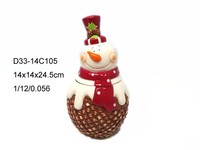 Ceramic christmas cute snowman candy jar