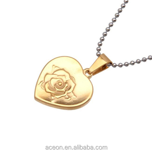 Yiwu Aceon 316L Steel Gold Color Friendship Jewelry Best Friends Embossed Rose Pendant
