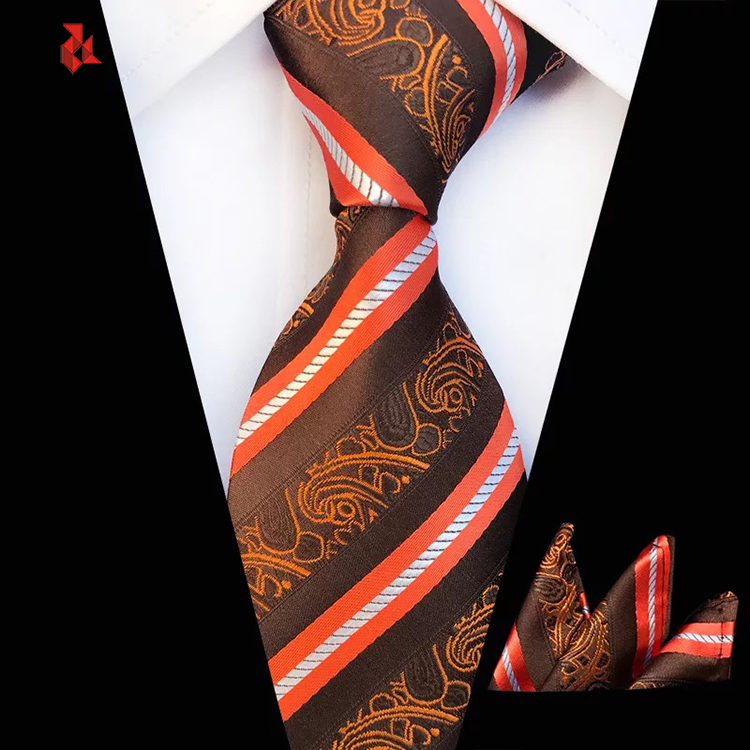 Navy and Orange Floral Tie Woven Jacquard Polyester Business Party Neck Ties