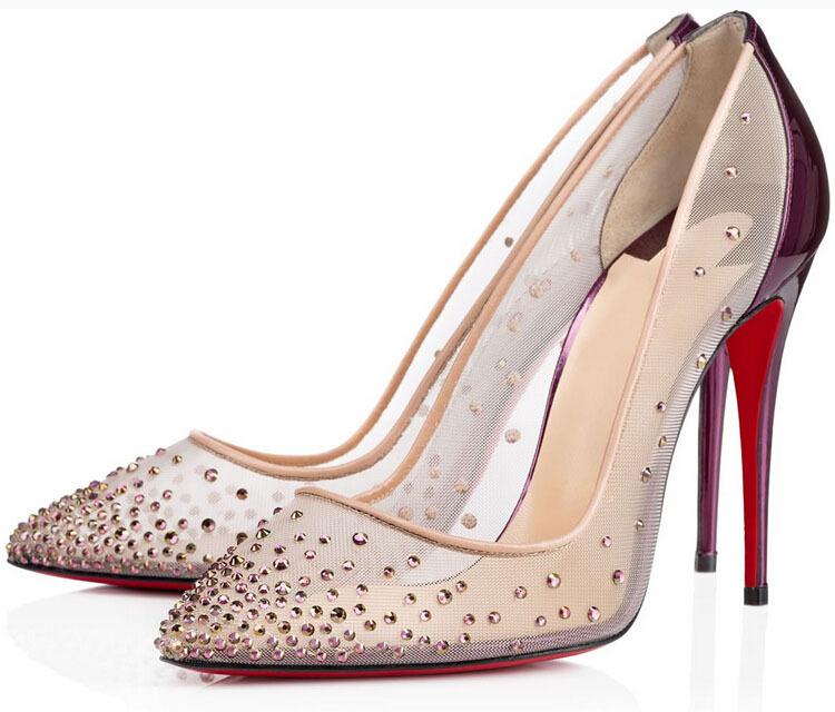 0fc0fda9289c Buy Stunning mesh vamp women pumps rhinestone high heels wedding shoes  purple crystals stiletto heels bridal shoes in Cheap Price on Alibaba.com