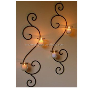 wrought iron tealight holder metal wall mounted candle holder