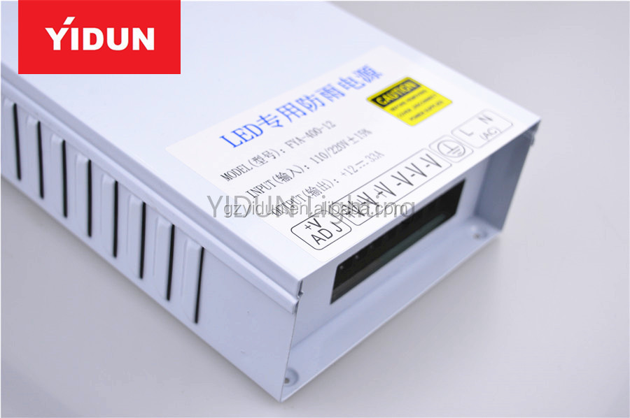 Yidun Lighting DC12V/24V waterproof led driver 400W 2A/3A for led flexible strip Switching Power Supply