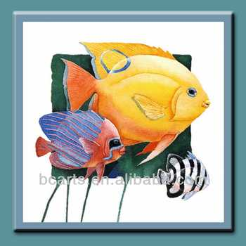 Latest Design Cartoon Tropical Fish Oil Painting Decorative With Bright Color