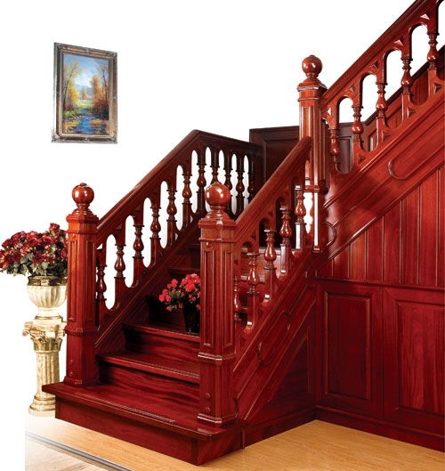 Antique design hand carved wood staircase