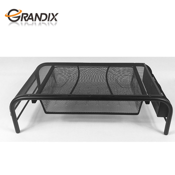 Mesh Laptop Stand and Lcd computer Monitor Stand Riser with Keyboard Storage and Organizer for Smartphones Tablets and Gadgets