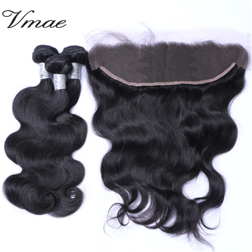 VMAE Hot Selling Mongolian 8-26 Inch Natural Color 13*4 Lace Frontal Closure Body Wave Peruvian Raw Virgin Human Hair Extension, N/a