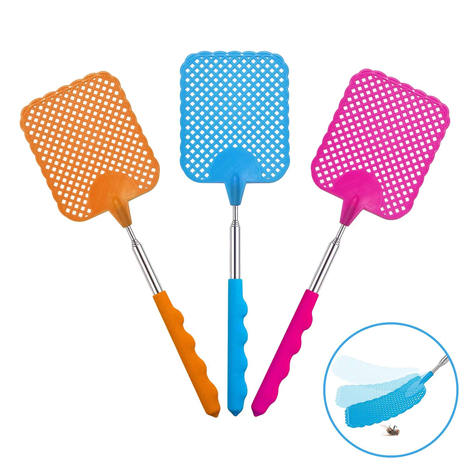 W.ent Fly Swatter Plastic Stainless Steel Extendable Manual Swat Pest Control Set of 3