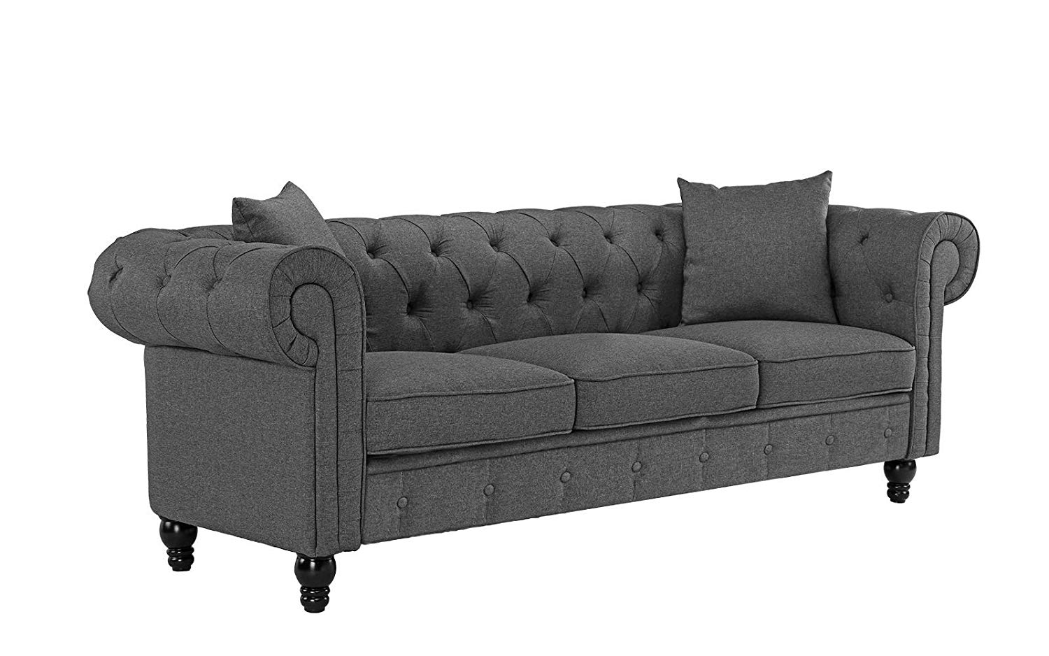 Classic Linen Fabric Scroll Arm Tufted Button Chesterfield Style Sofa (Light Grey)