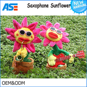 Singing and Dancing Sunflower Enchanting sunglasses Sunflower with Saxophone Soft Plush Funny Creative Electric Toys