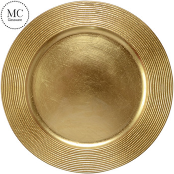Custom Dinnerware Fancy Gold Plastic Charger Plate View Gold