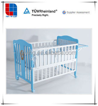 baby crib, 3 in 1 wood baby cot, with mosquito net and castors